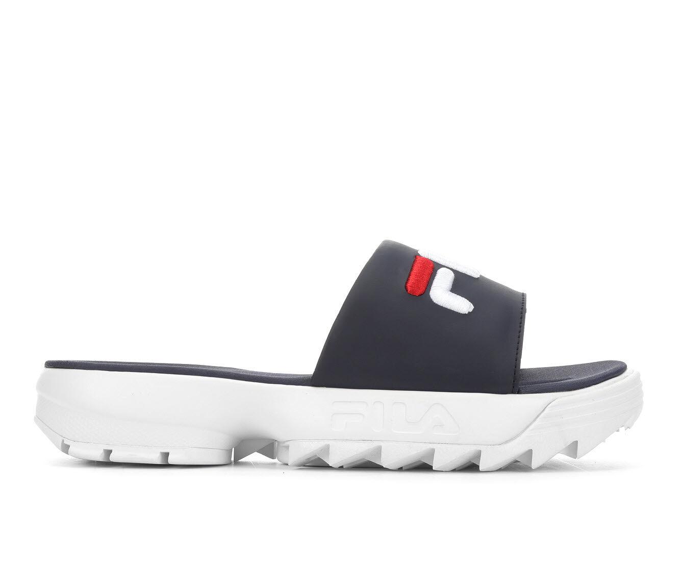 Women's Fila Disruptor Bold Slide Flatform Sandals Navy/White/Red