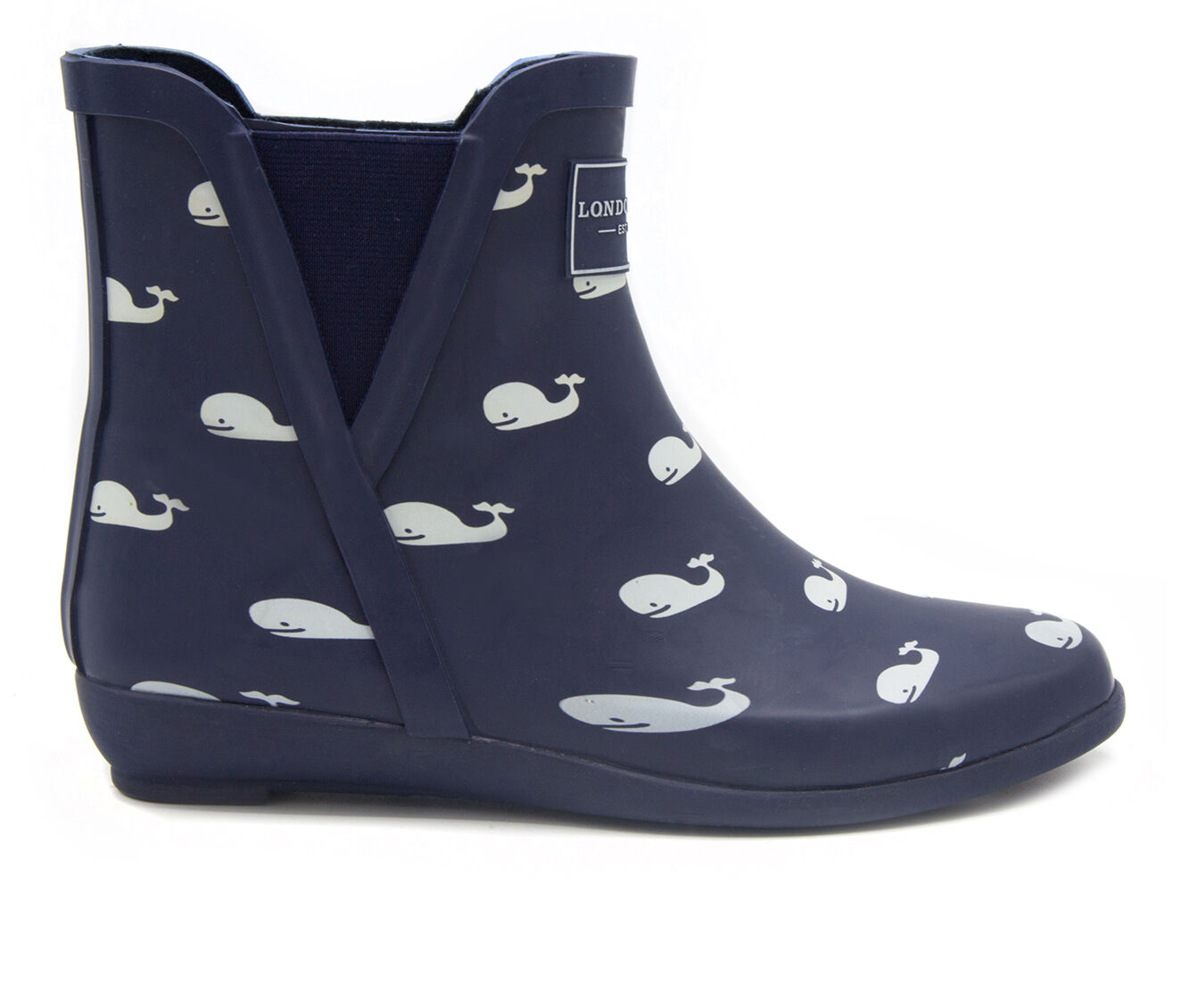 Women's London Fog Piccadilly Rain Boots Navy Whales