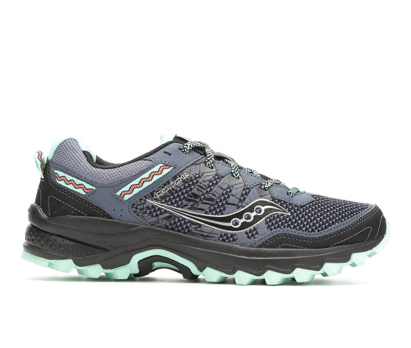 Women's Saucony Excursion TR 12 Trail Running Shoes Black/Aqua