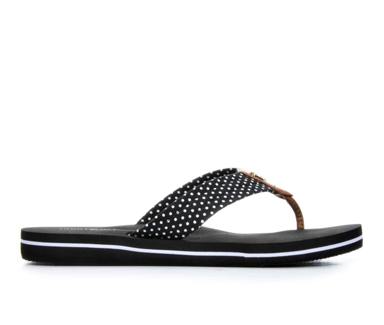 Women's Tommy Hilfiger Candis Flip-Flops Black/White
