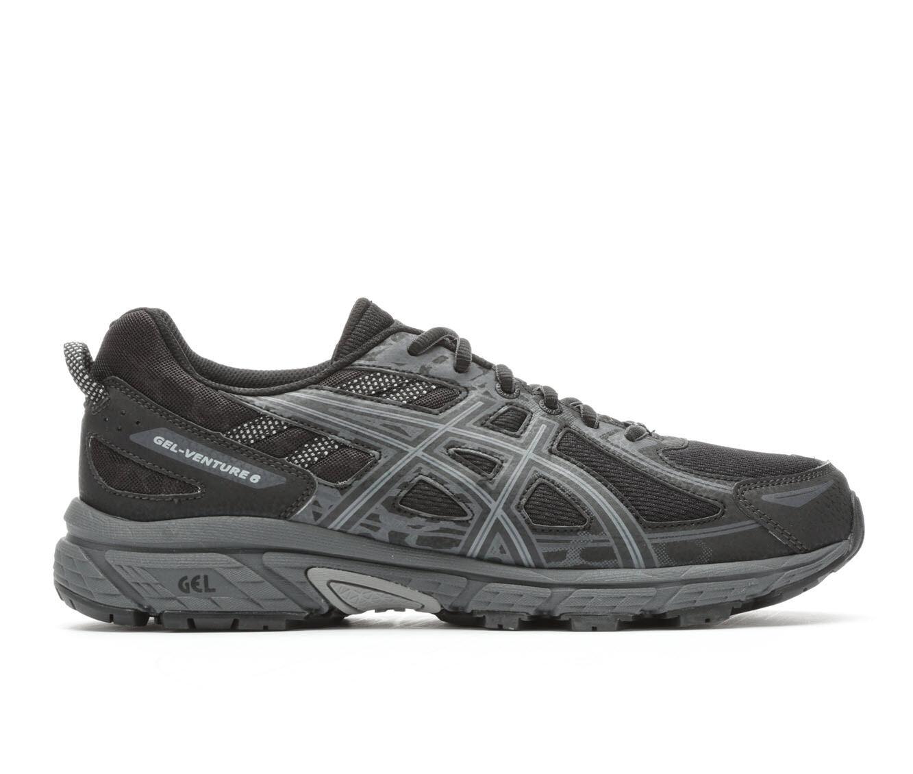 Men's ASICS Gel Venture 6 Trail Running Shoes Black/Gry Print