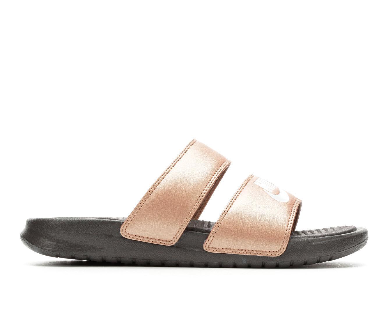choose comfortable new Women's Nike Benassi Duo Slide Sandals MTLC Bronze/Pla