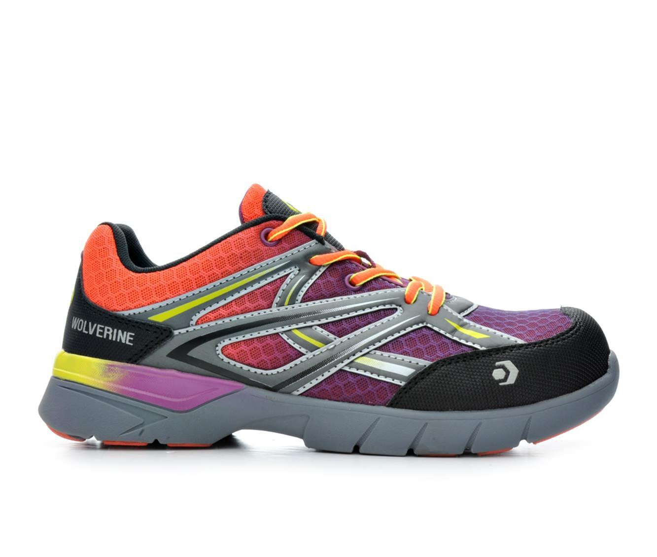 buy latest style Women's Wolverine 10693 Jetstream Composite Toe Waterproof Work Shoes Orange/Purple