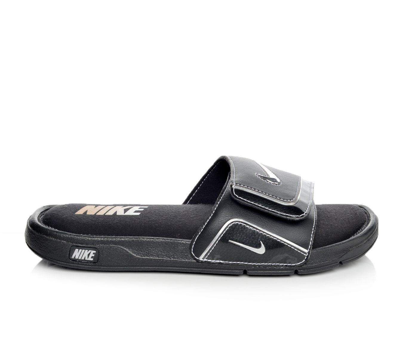 buy cheap new arrivals Men's Nike Comfort Slide 2 Sport Slides Blk/Met Sil/Wht