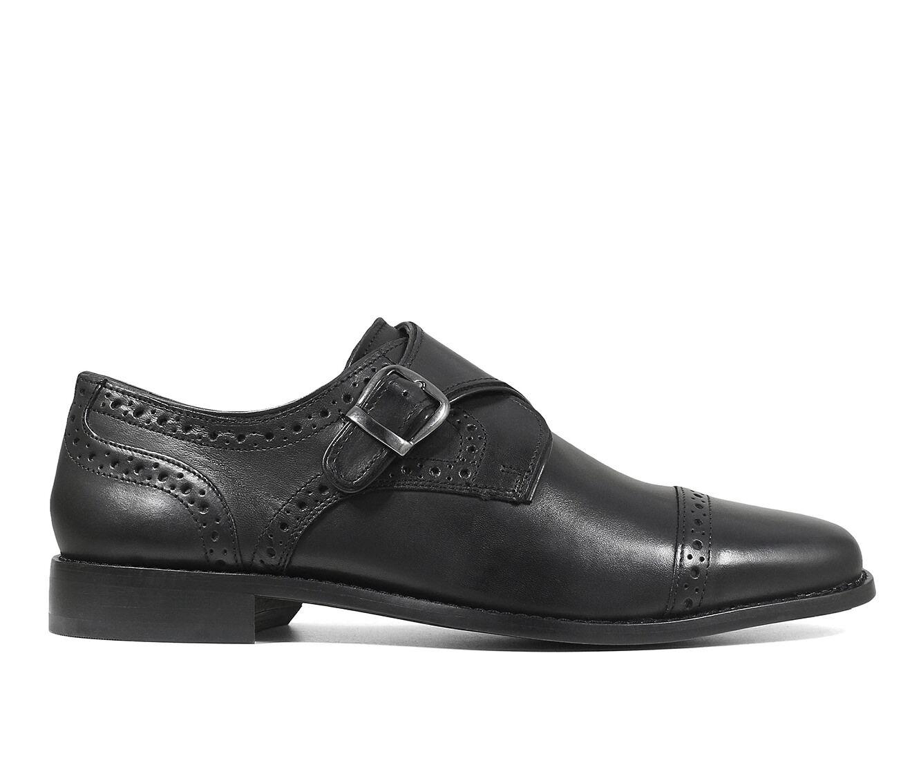 Men's Nunn Bush Newton Cap Toe Monk Strap Dress Shoes Black