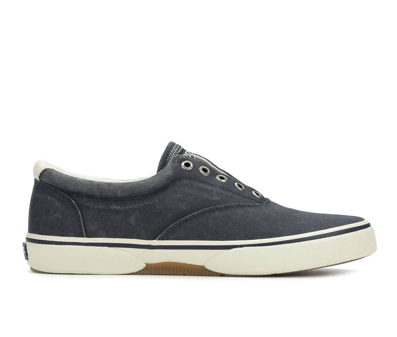 Men's Sperry Halyard Laceless Casual Shoes Salt Wash Navy