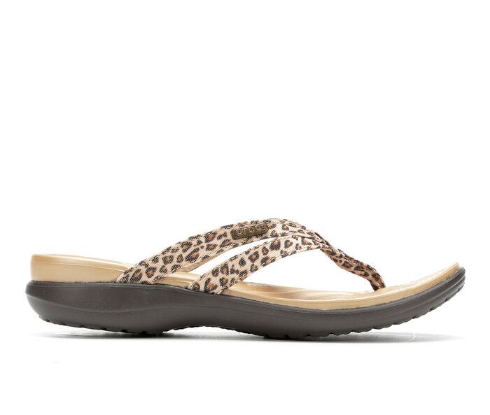Women's Crocs Capri Leopard Flip Flops