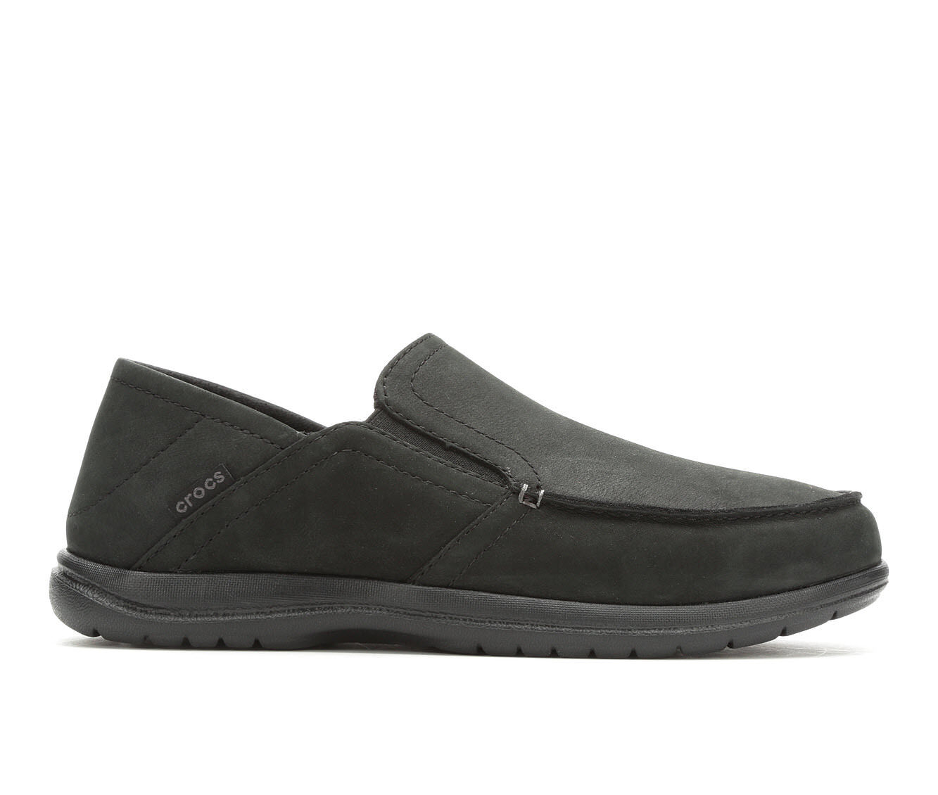 Men's Crocs Santa Cruz Convertible Leather Slip On Black