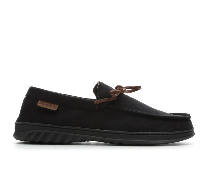 Dearfoams Men's Ethan Perforated Moccasin with Tie Slippers