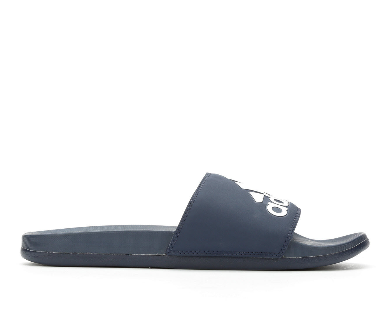 Economic Popular Men's Adidas Adilette Cloudfoam + Logo Sport Slides Navy/White