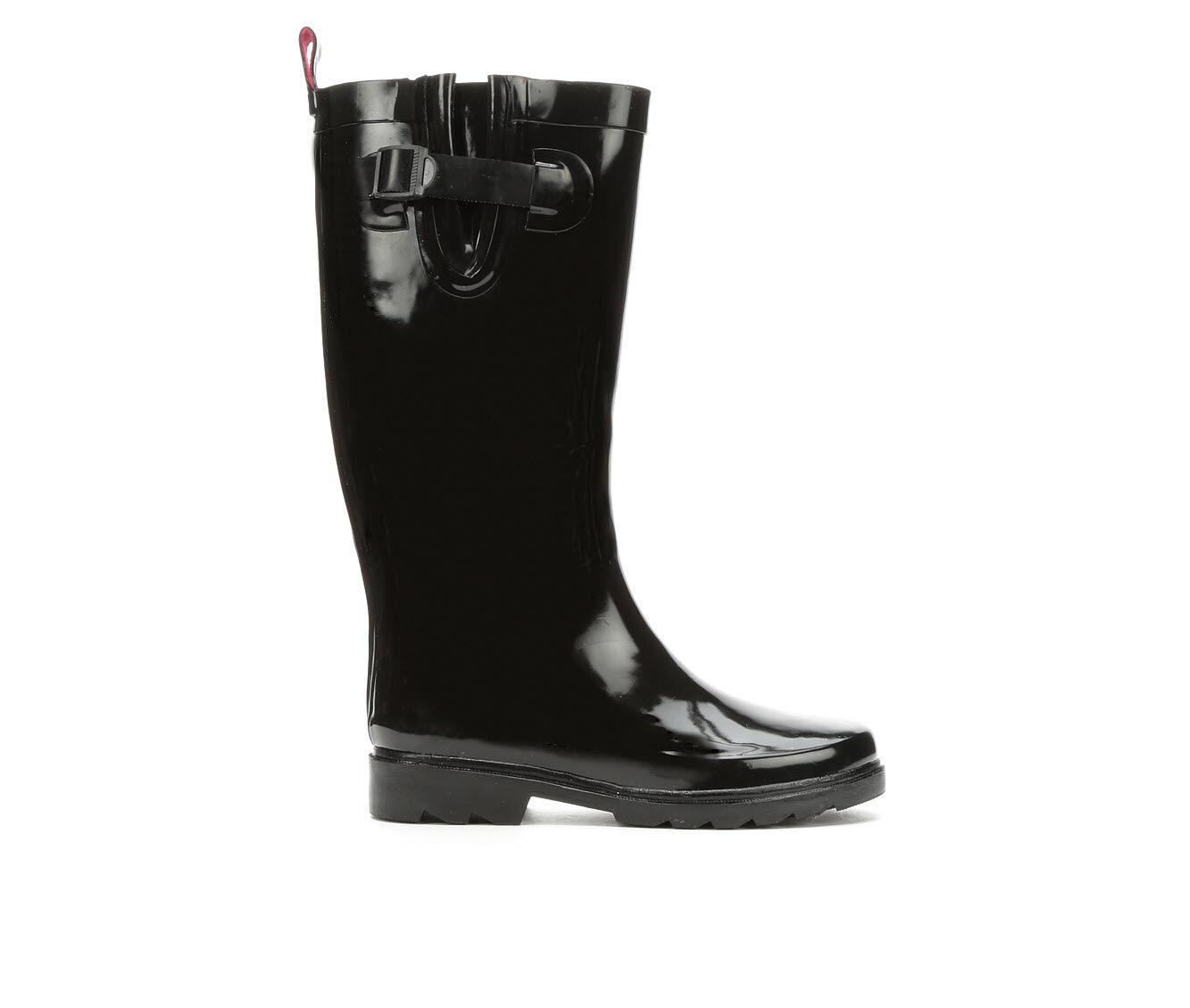 Women's Capelli New York Shiny Solid Tall Rain Boots Black
