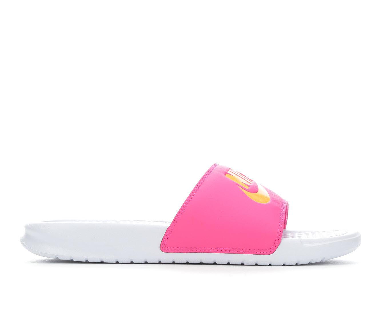 Women's Nike Benassi JDI Slide Sandals Whi/Fuschsia/Or