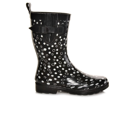 Women's Capelli New York Shiny Sprinkle Dots Wide Calf Rain Boots