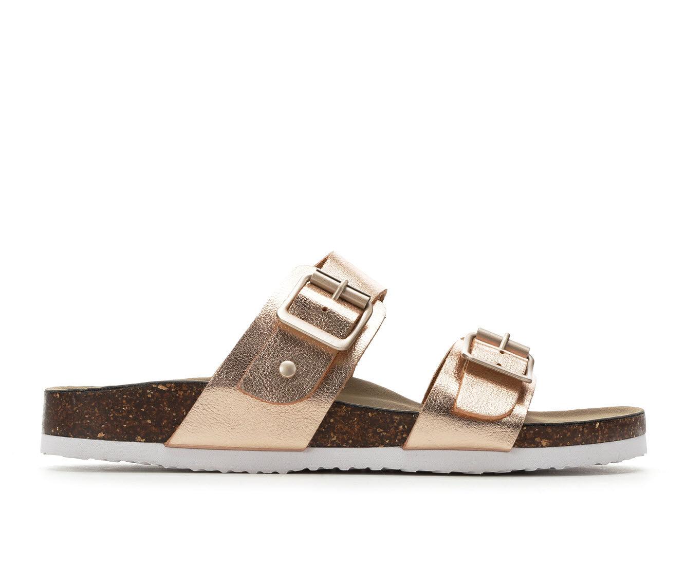 Cozy Fresh Women's Madden Girl Brando Footbed Sandals Rose Gold/White