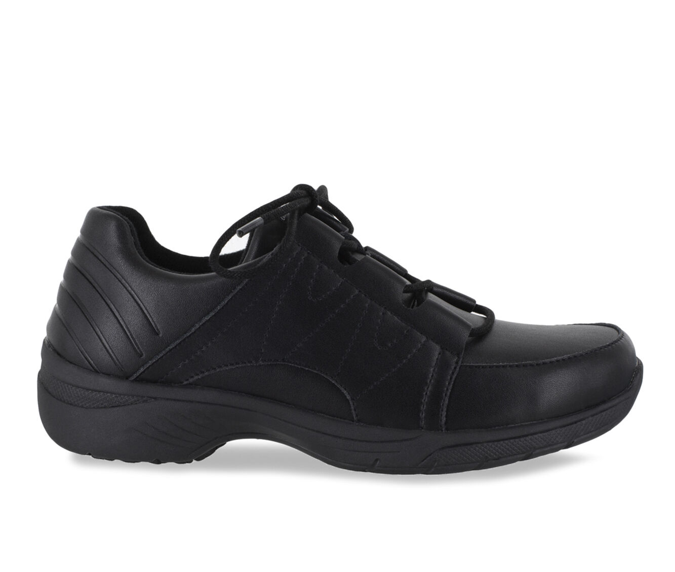 Women's Easy Works by Easy Street Pepper Safety Shoes BLACK LEATHER
