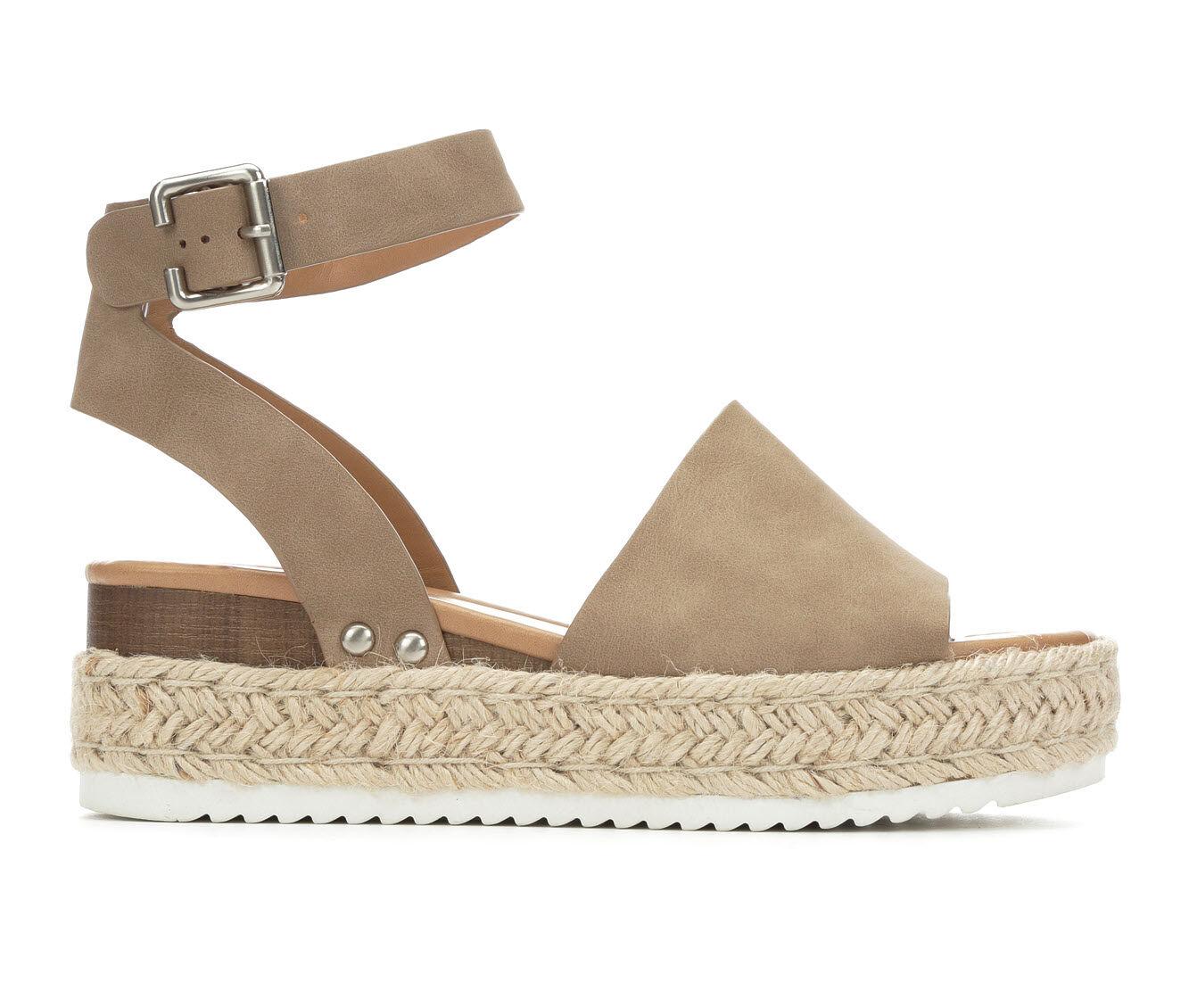 Women's Soda Topic Flatform Sandals Dark Natural