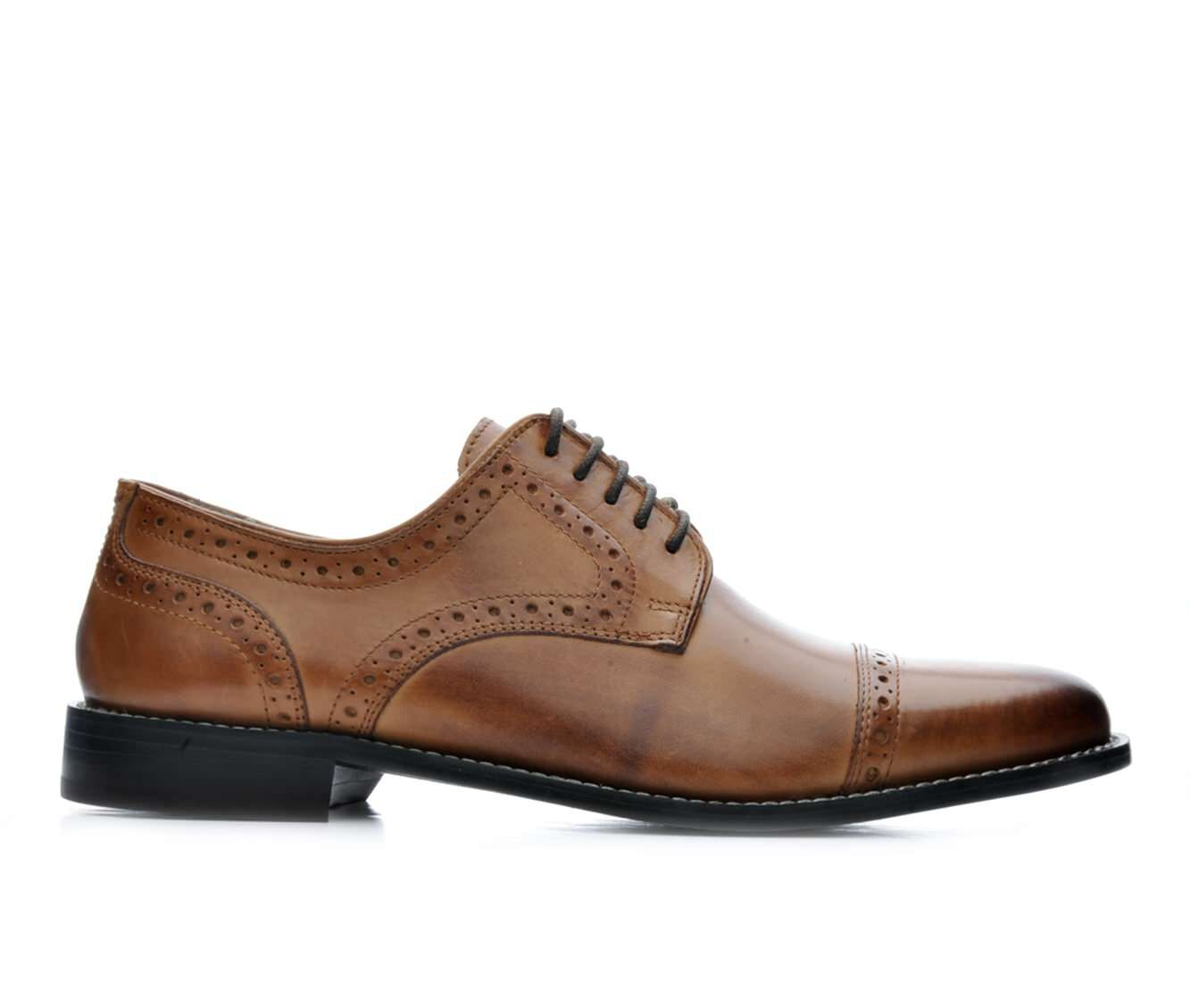 Men's Nunn Bush Norcross Cap Ox Dress Shoes Cognac