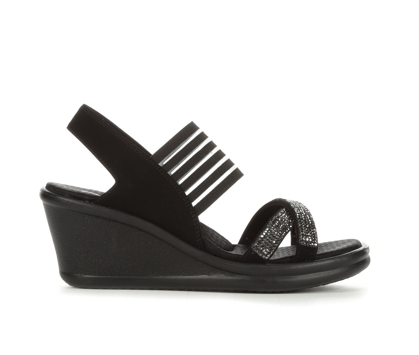 Women's Skechers Cali Rumblers Modern Maze Wedge Sandals Black