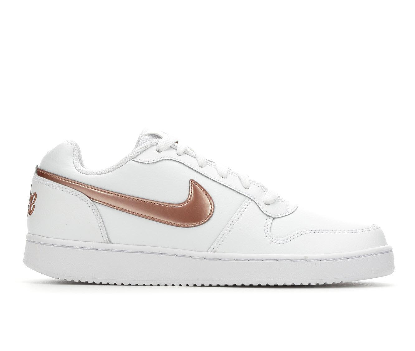 Women's Nike Ebernon Low Basketball Shoes Wht/Red Bronze