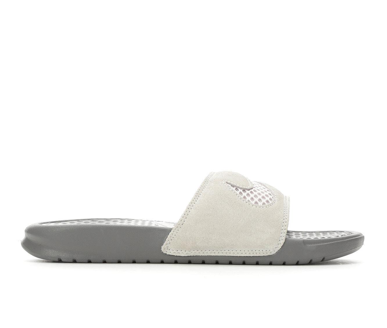 Women's Nike Benassi JDI Suede Sport Sandals Vast Grey/Gunsm