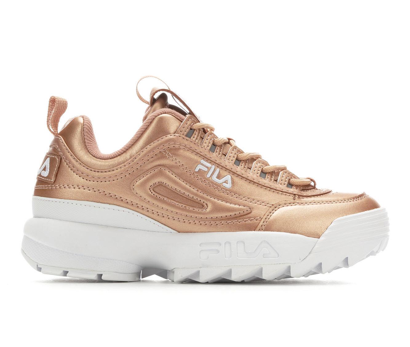 Women's Fila Disruptor II Premium Metallic Sneakers Rose/Gold/Wht