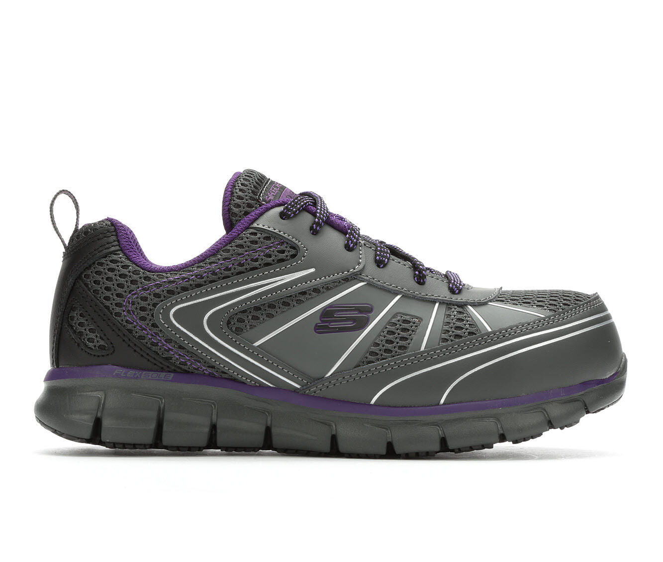 Women's Skechers Work Algonac 77207 Alloy Toe Aluminum Toe Work Shoes Charcoal/Purple