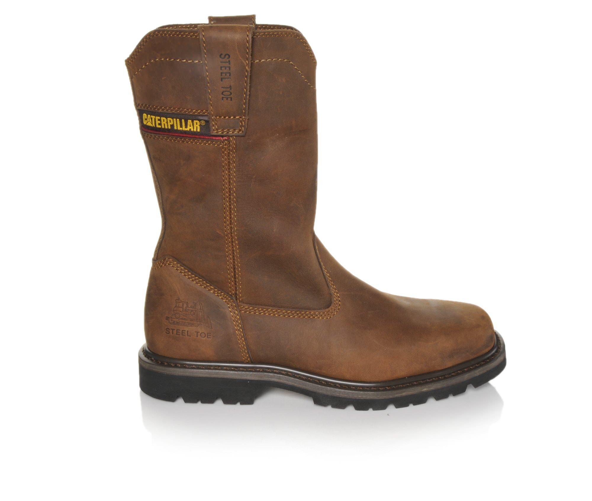 Men's Caterpillar Wellston Steel Toe Work Boots Dark Brown