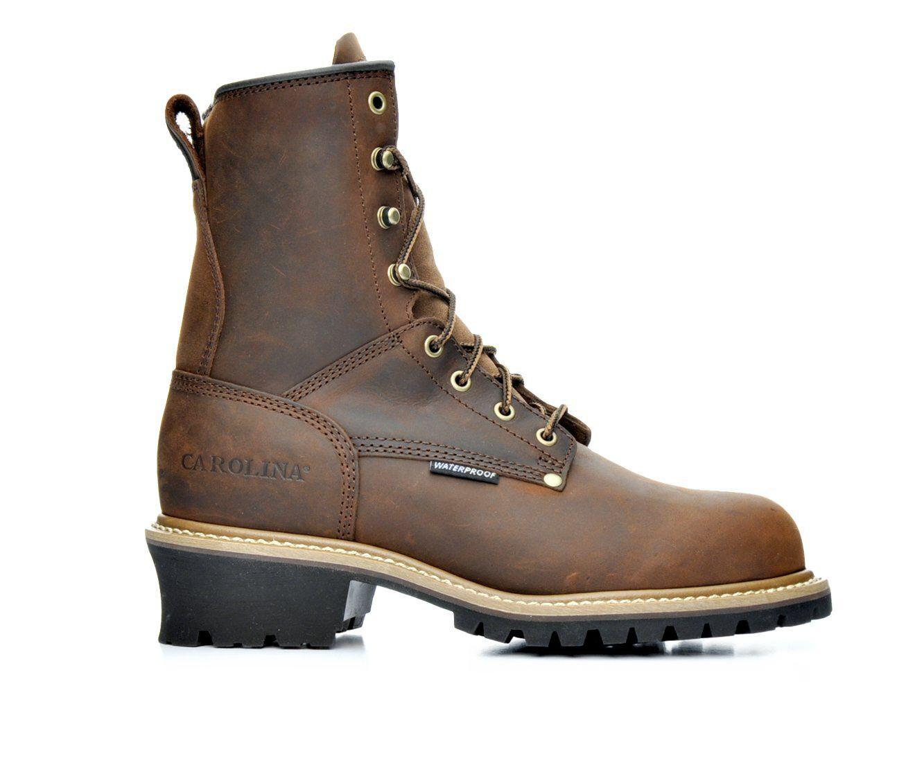 Men's Carolina Boots CA9821 8 In Steel Toe Waterproof Logging Work Boots Dark Brown