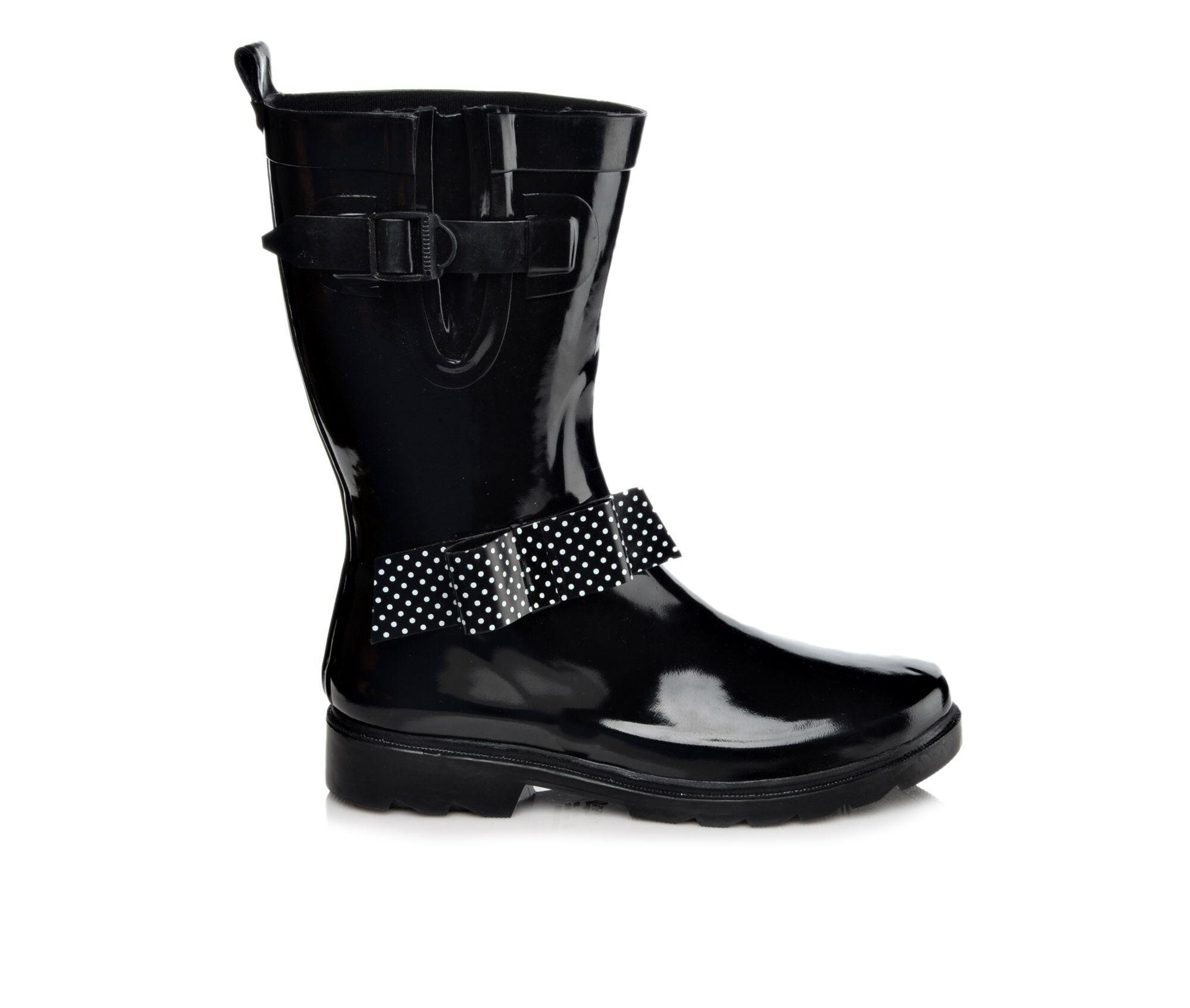 Womens Capelli New York Shiny Solid Polka Dot Bow Mid Shaft Rain Boots