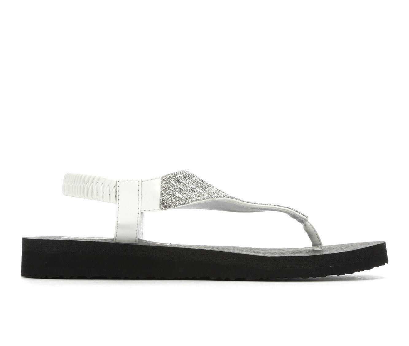 Popular And Cheap Women's Skechers Cali Meditation Rock Crown Sandals White