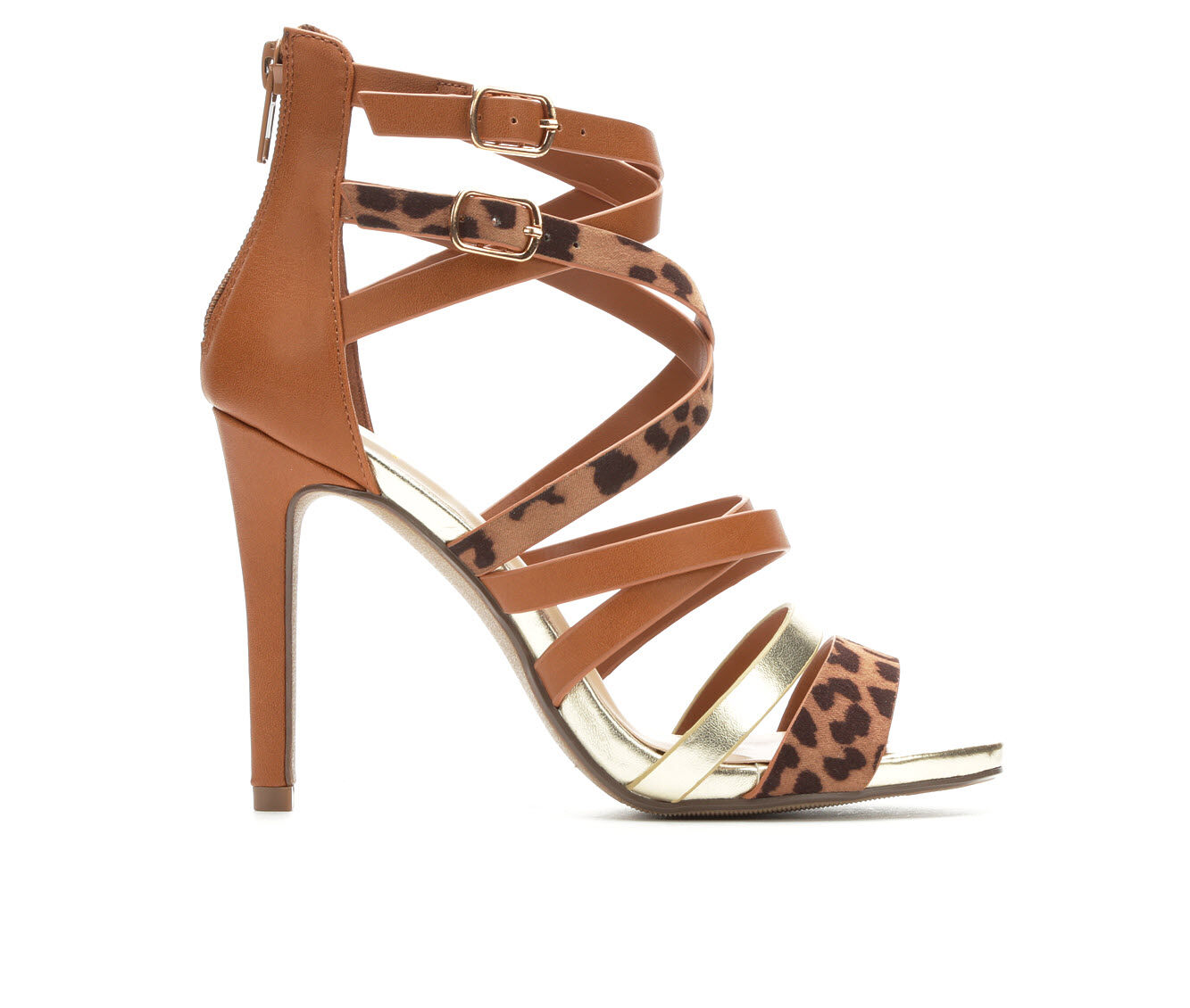 Women's Delicious Cage Strappy Heeled Sandals Tan Leopard PU