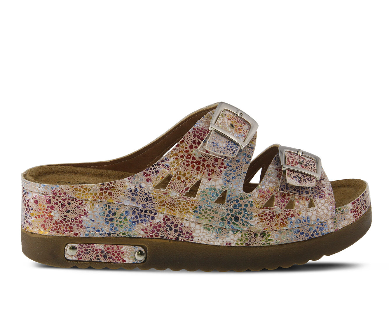 cheapest new Women's FLEXUS Delsie Flatform Sandals Pink Multi