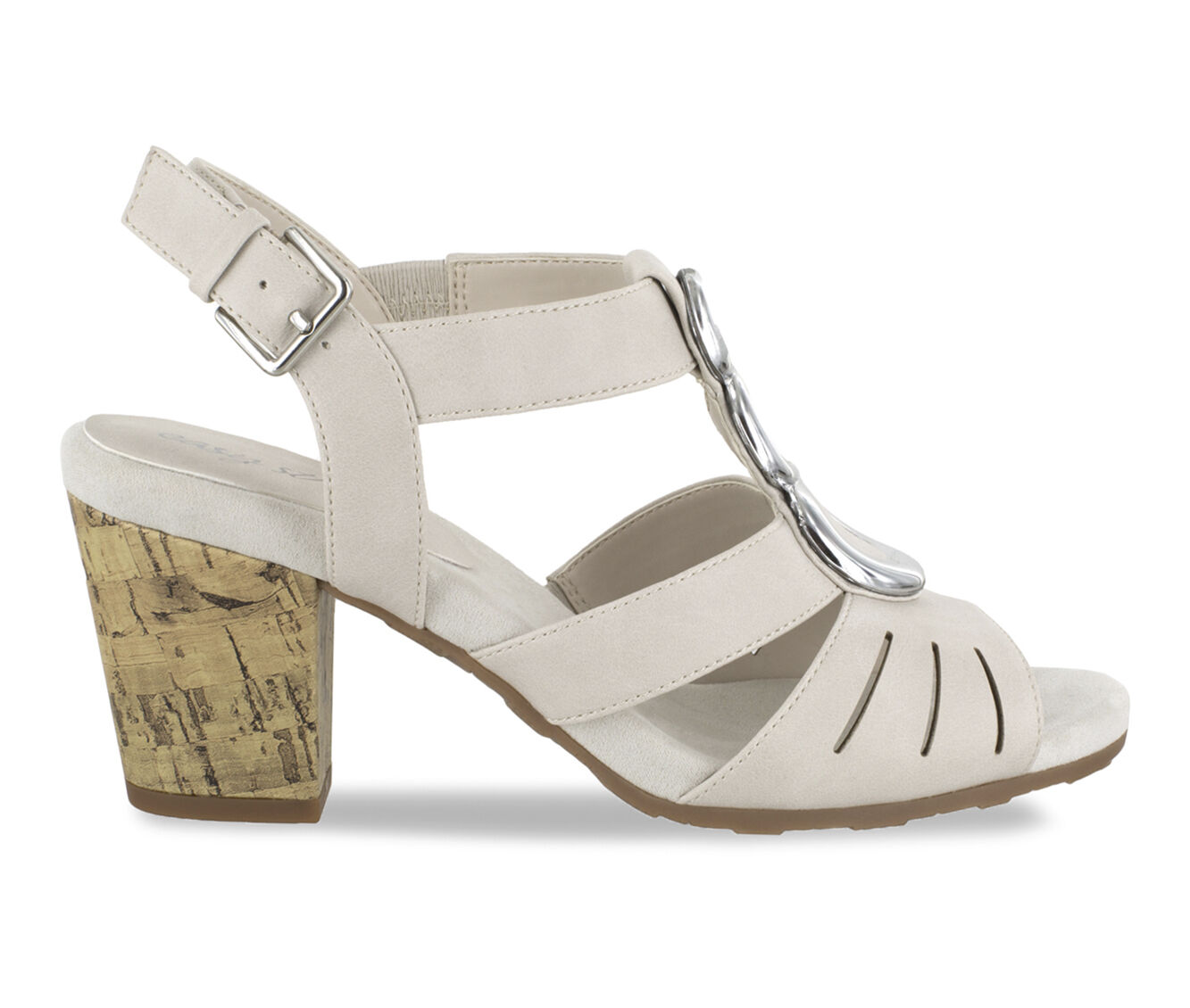 Women's Easy Street Casey Heeled Sandals Ivory w/ Cork