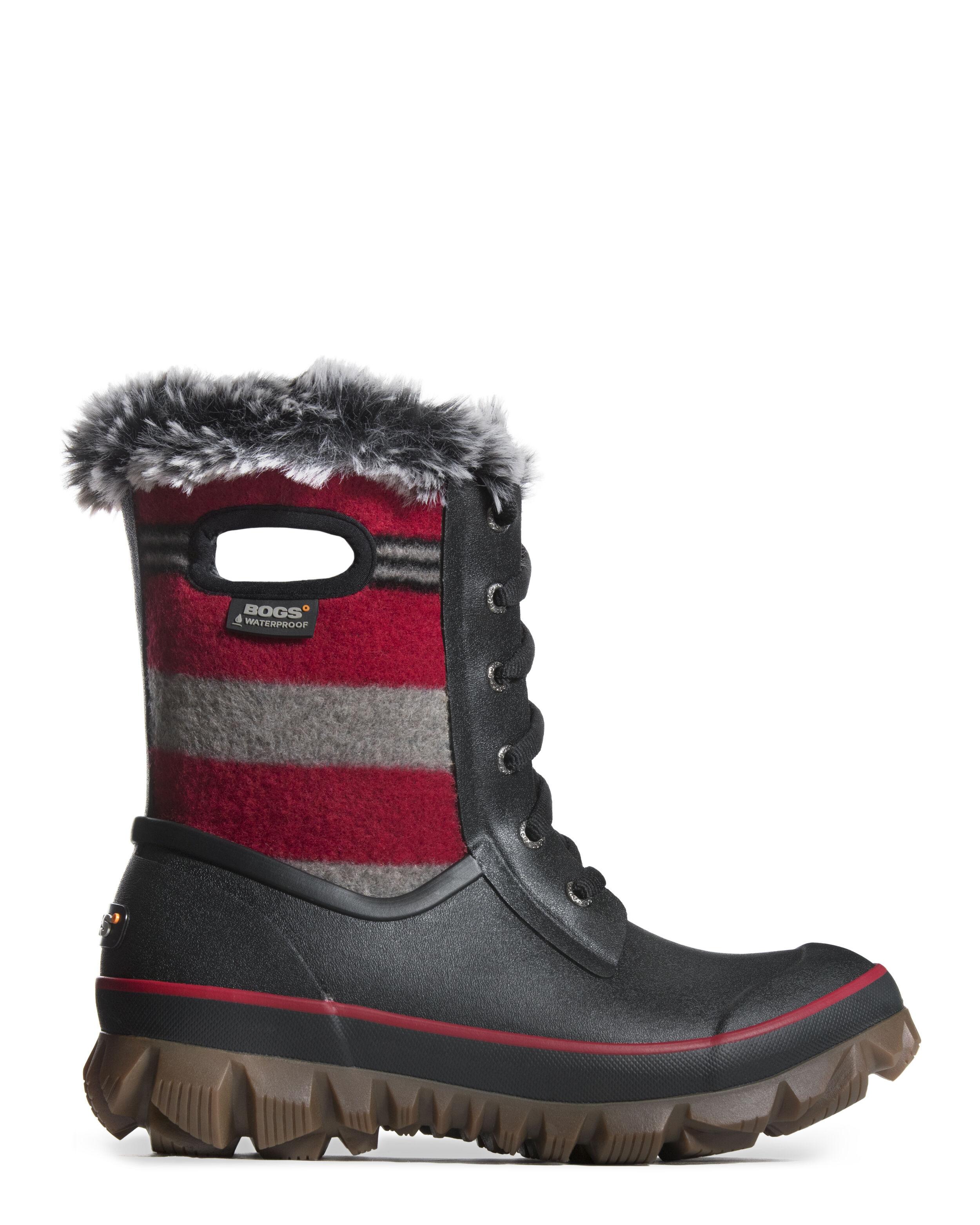Women's Bogs Footwear Arcata Lace Stripe Winter Boots Red Multi