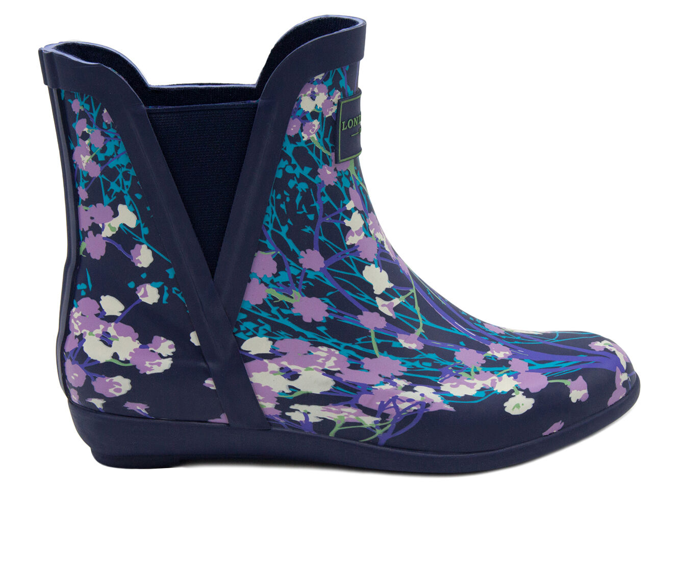 Women's London Fog Piccadilly Rain Boots Navy Floral