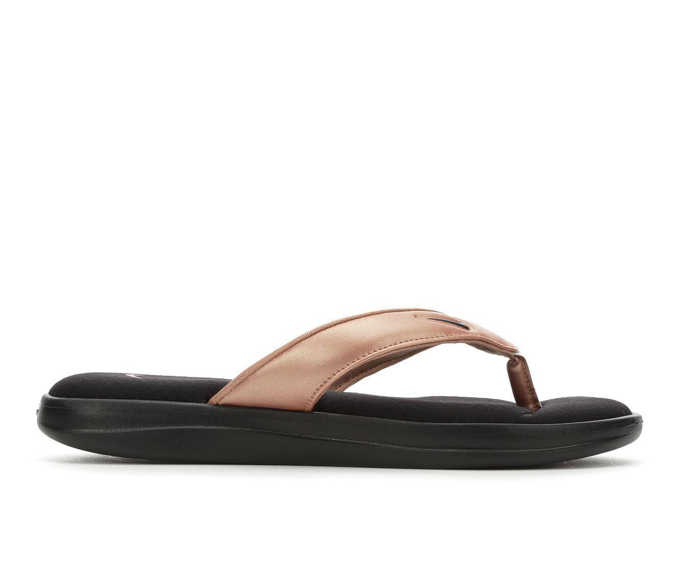 For Sale Popular Women's Nike Ultra Comfort Thong 3 Sport Sandals Black/MTLC Brnz