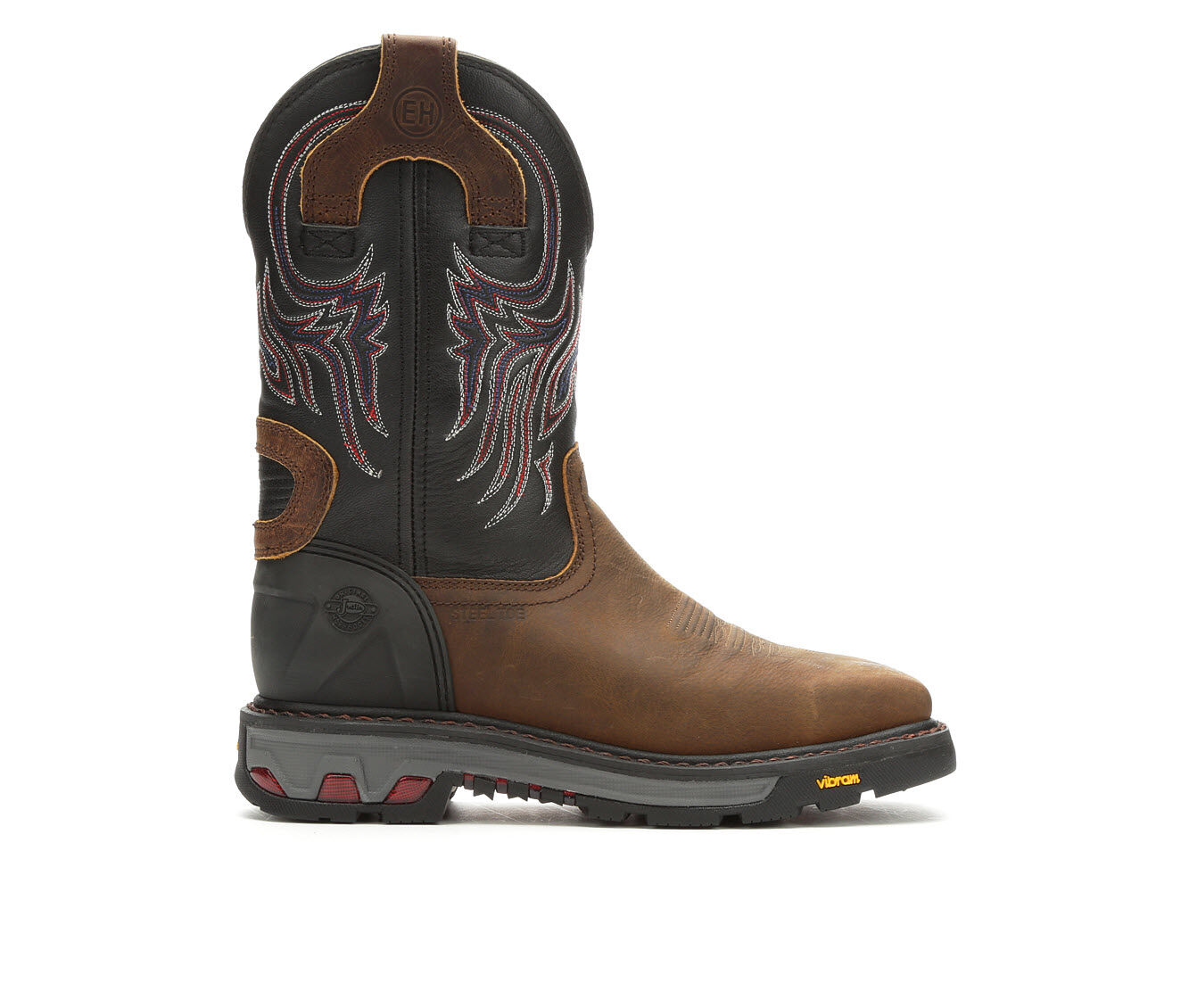 Quite Brilliant Men's Justin Boots Commander Steel Toe Cowboy Boots Brown/Black