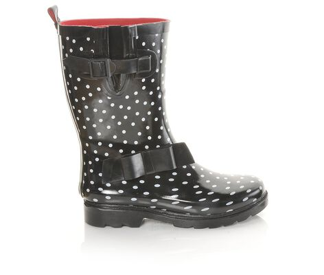 Women's Capelli New York Shiny Dots Solid Bow Rain Boots