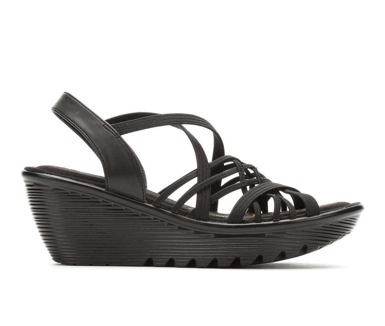 Women's Skechers Crossed Wires 41103 Strappy Wedge Sandals Black