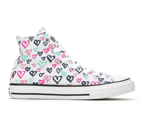 Girls' Converse CTAS Hearts Hi 10.5-6 High Top Sneakers