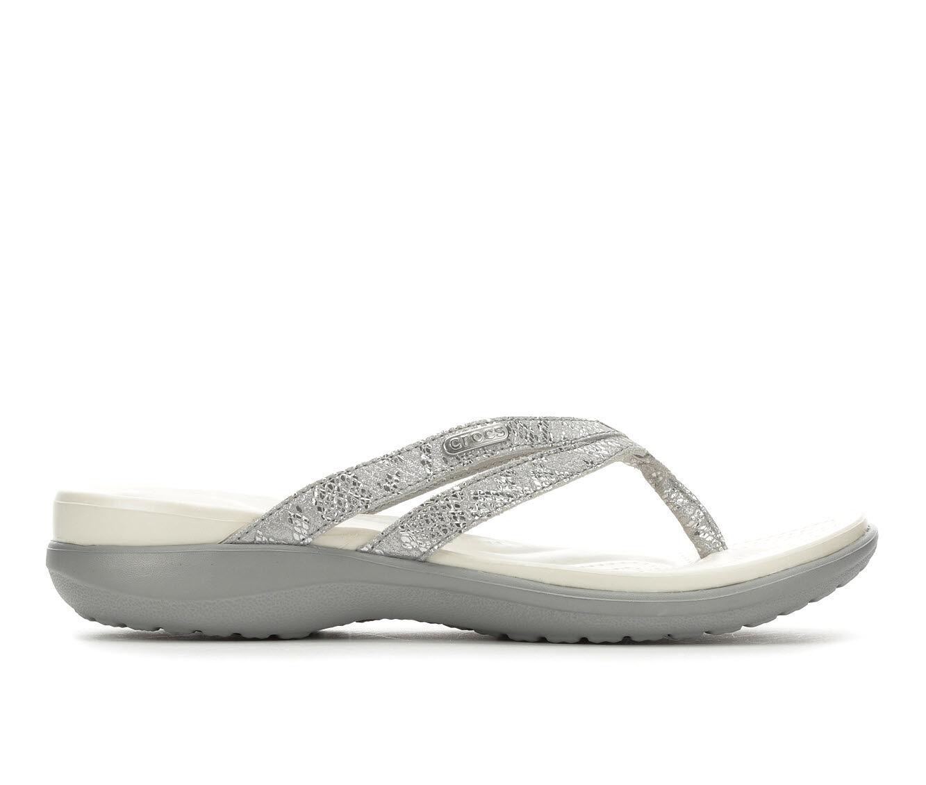 Women's Crocs Capri Metallic Flip Silver/Silver
