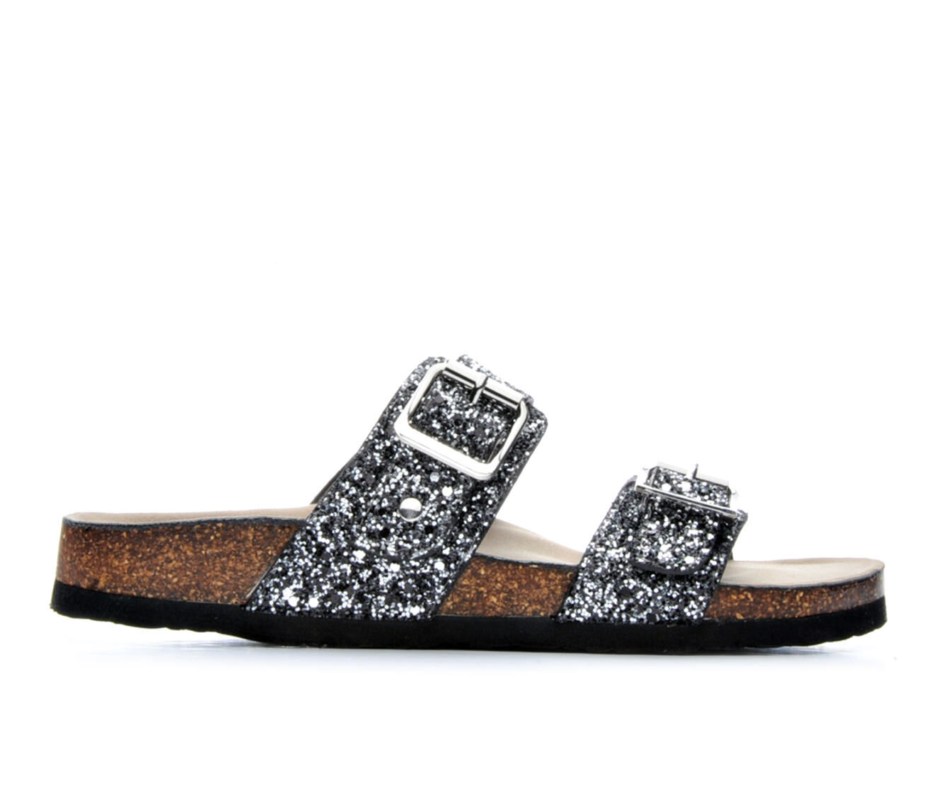Women's Madden Girl Brando Footbed Sandals Silver Multi