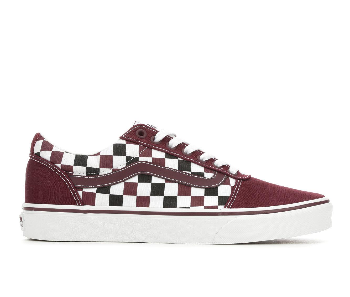 Factory Outlet Men's Vans Ward Skate Shoes Bur/Bk/Wh Chkbd