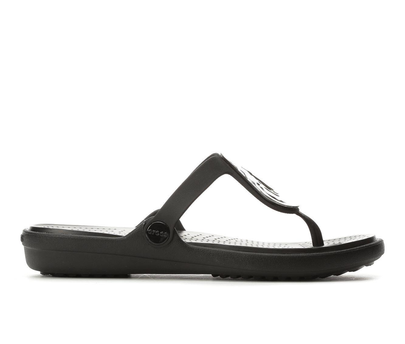 no tax Women's Crocs Sanrah Metallic Flip-Flop Silver/Black
