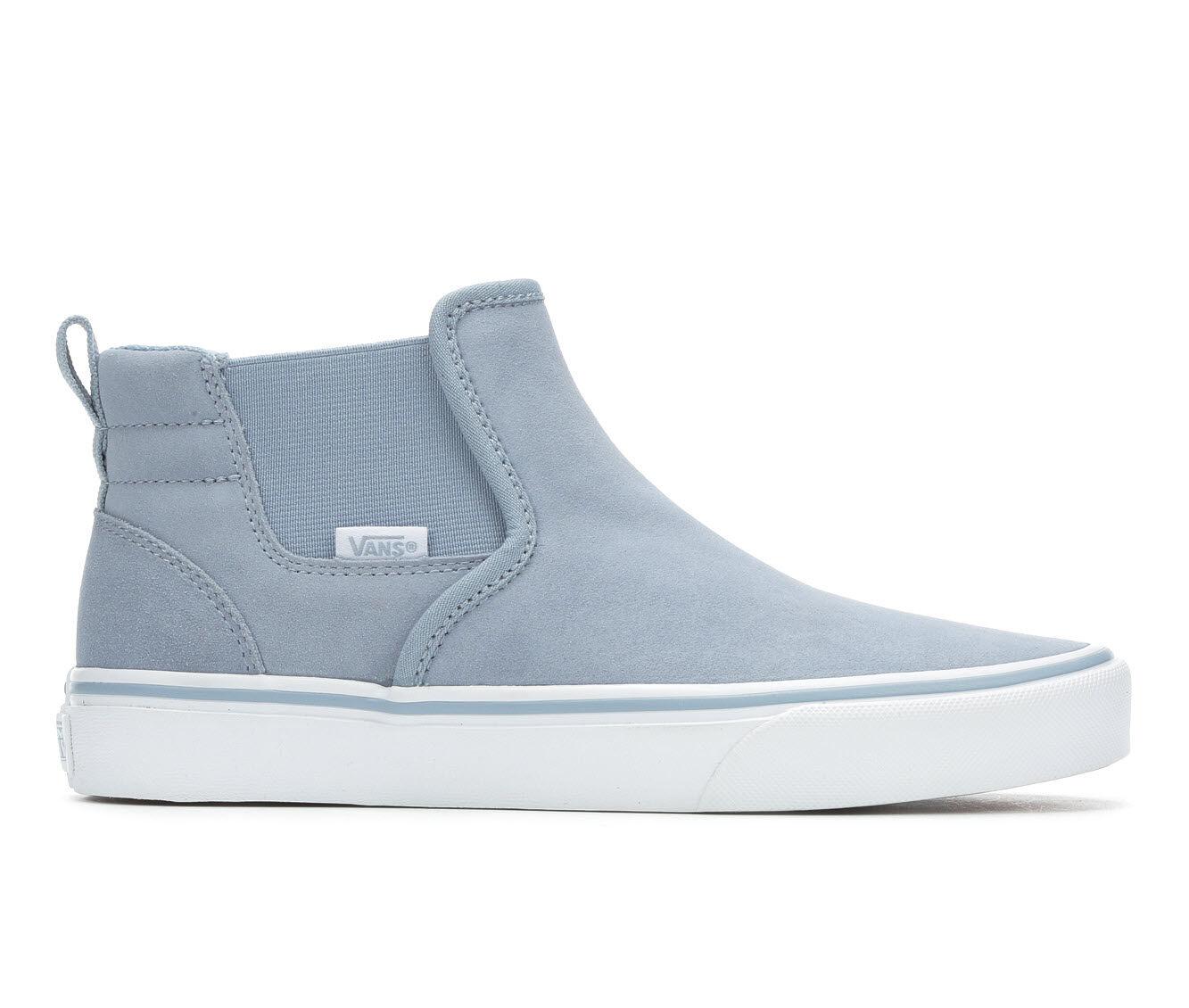 Women's Vans Asher Mid Skate Shoes Blue Fog/White