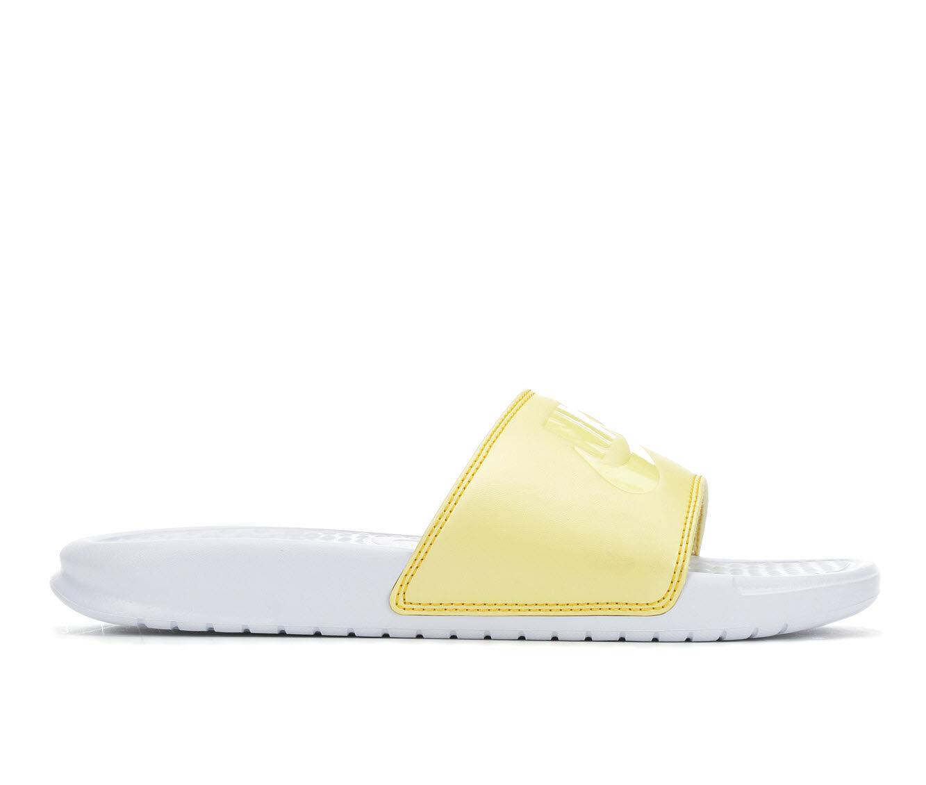 Women's Nike Benassi JDI Slide Sandals White/Yellow