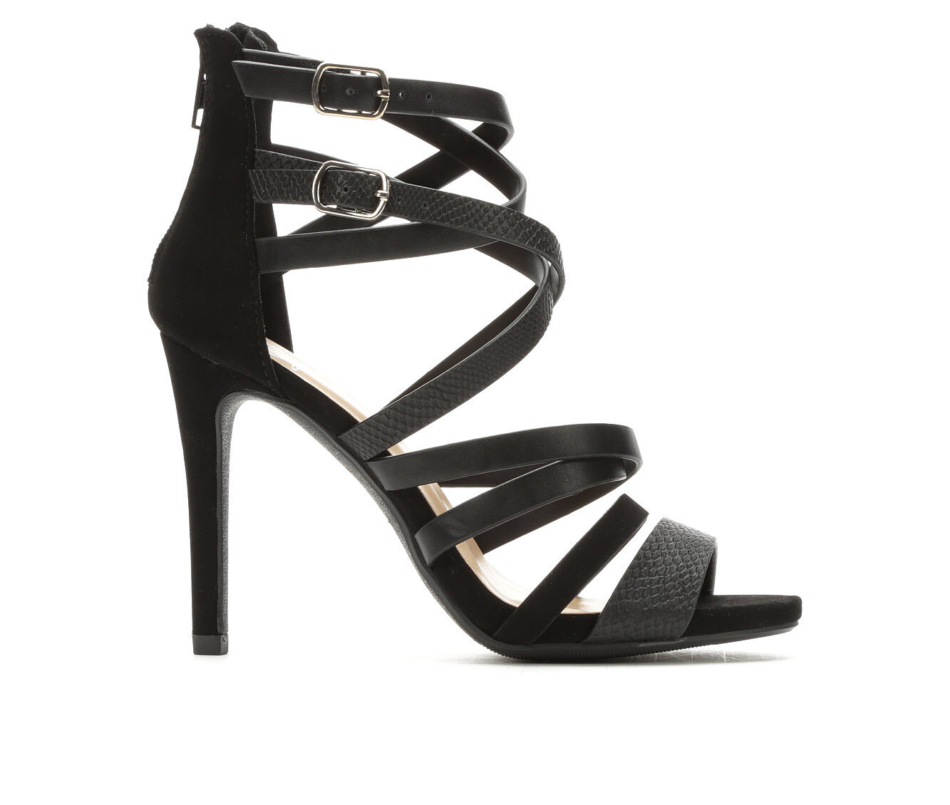 Women's Delicious Cage Strappy Heeled Sandals Black Multi PU