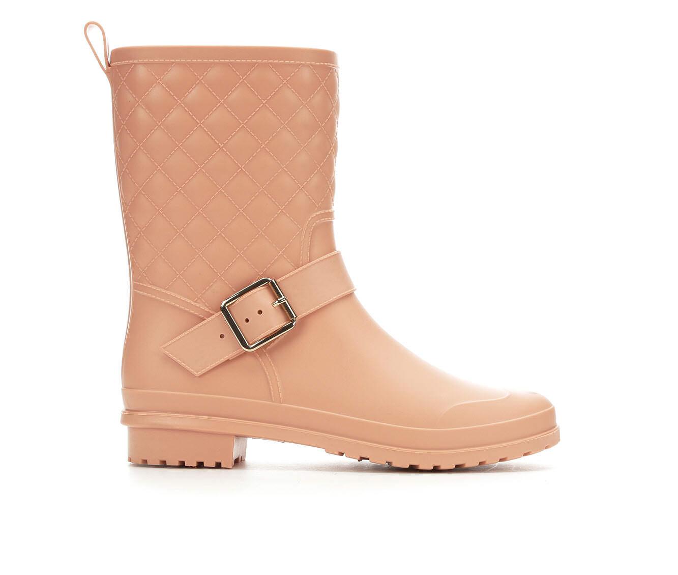 Women's Capelli New York Matte Quilt Mid Rain Boots Blush