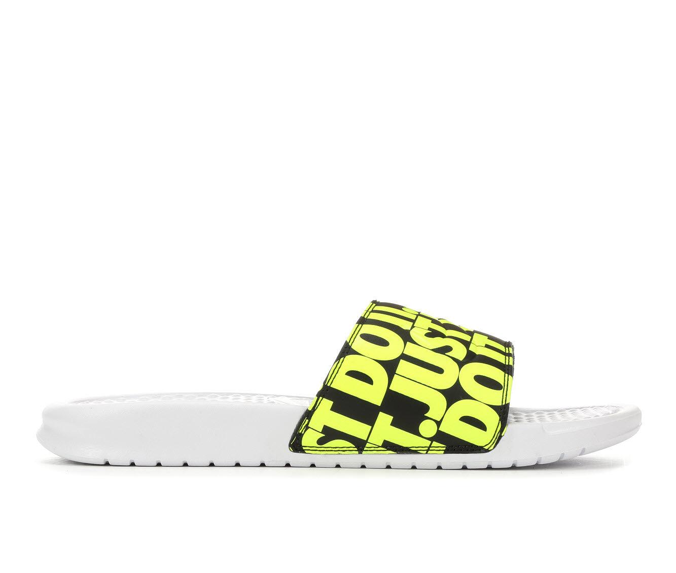 Men's Nike Benassi JDI Print Sport Slides White/Bk/Volt