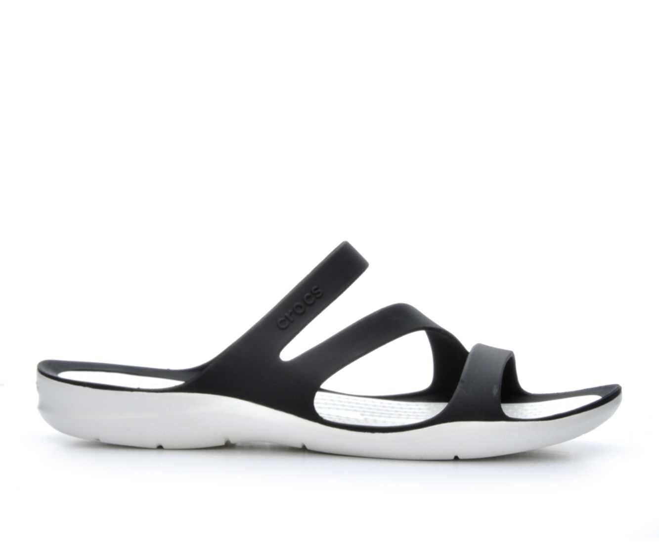Women's Crocs Swiftwater Strappy Sandals Black/White
